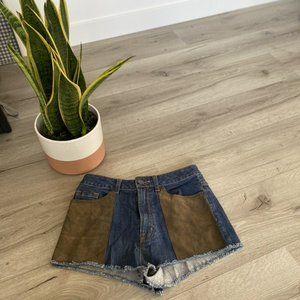 BDG High Rise Cheeky Denim Shorts Leather pockets